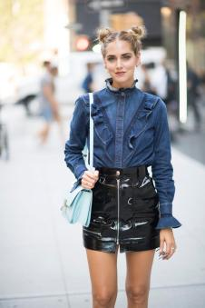NEW YORK, NY - SEPTEMBER 14: Chiara Ferragni is wearing a Stella Mc Cartney shirt and a Isabel Marant skirt and a celine bag and Chiara Ferragni Collection shoes seen in the streets of Manhattan during the New York Fashion Week on September 14, 2016 in New York City. (Photo by Timur Emek/Getty Images)