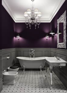 Lxurious interior of bathroom in dark violet tone