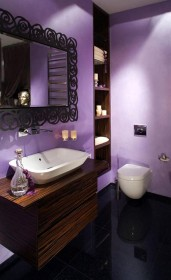 stunning-wooden-vanity-idea-with-rectangle-white-marble-sink-beneath-black-metal-framed-wall-mirror-in-purple-bathroom-with-recessed-cabinet